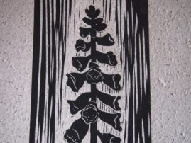 Foxglove Linocut on Sandpaper