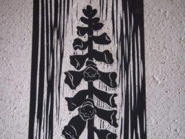 Foxglove Linocut on Sandpaper